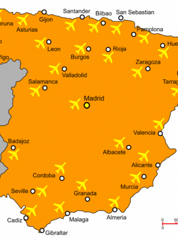 Map Of Spain Showing Airports.Airports In Northern Spain Airports In Spain With Flights From Uk